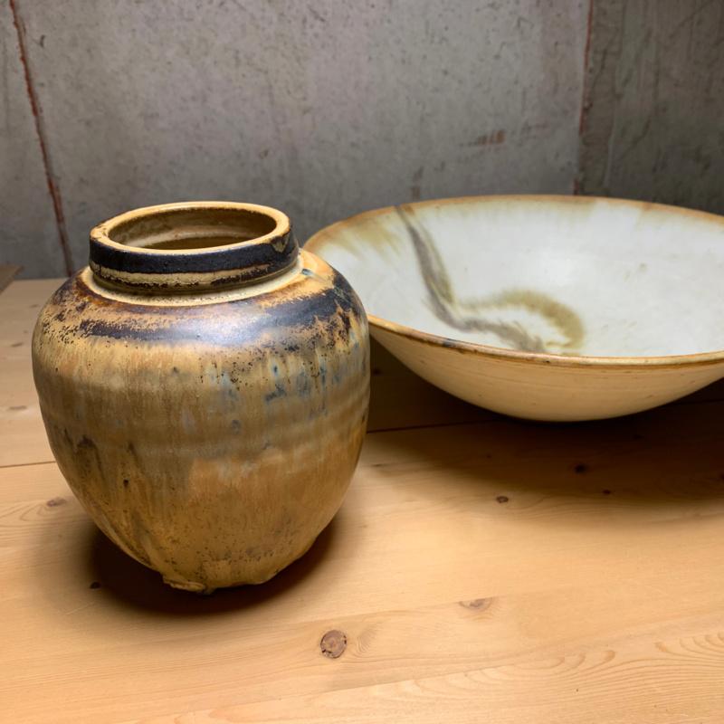 Studio Pottery Jar and Bowl Chop Mark Bowl-a10