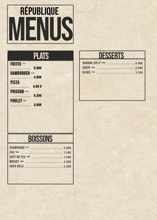 Menus du Restaurant de la RF  Screen53