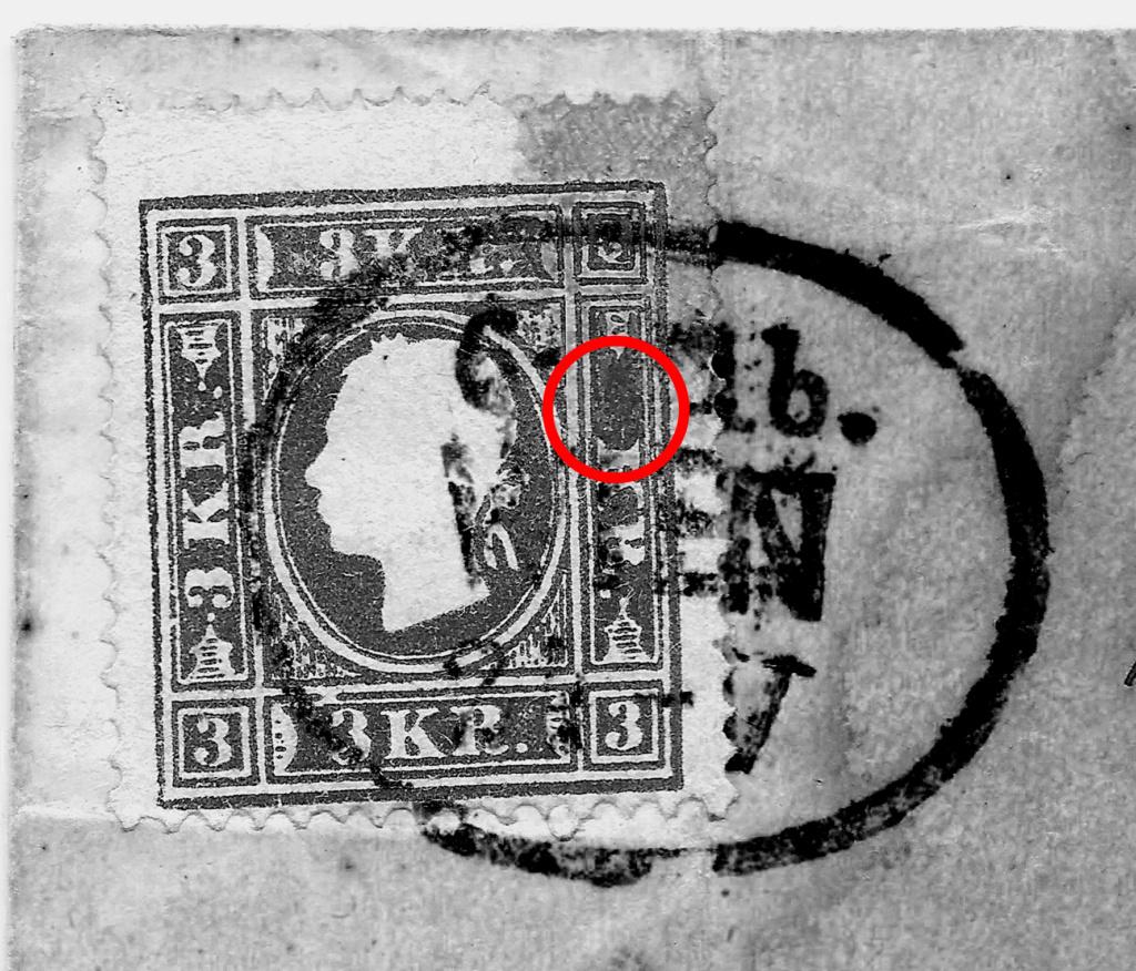 Die Freimarkenausgabe 1858: 3 Kronen Type II auf Brief - Plumpe Fälschung oder Glücksfund? 3_kreu11