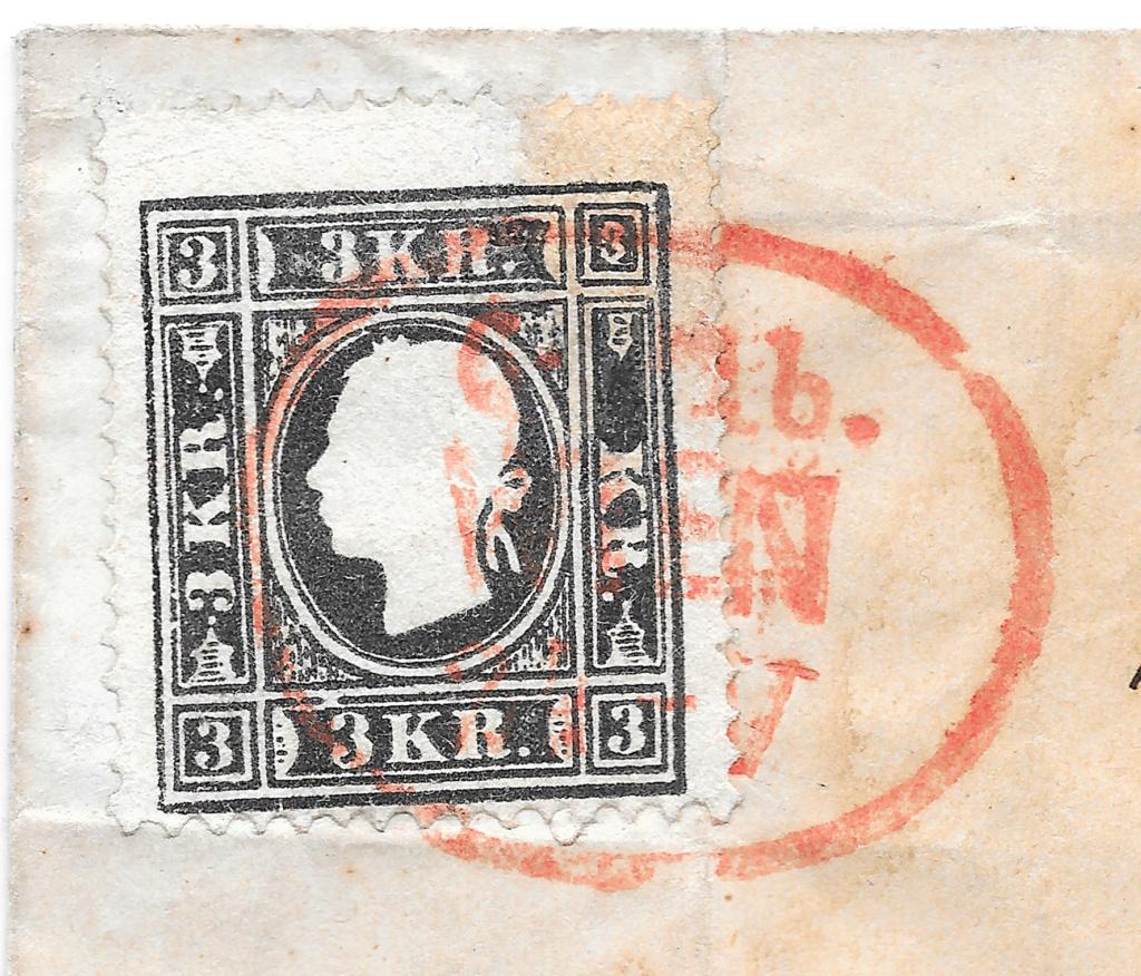 Die Freimarkenausgabe 1858: 3 Kronen Type II auf Brief - Plumpe Fälschung oder Glücksfund? 3_kreu13