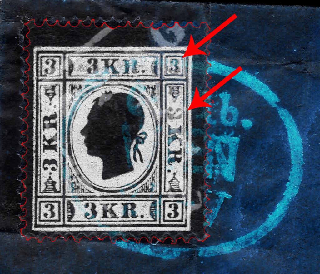 Die Freimarkenausgabe 1858: 3 Kronen Type II auf Brief - Plumpe Fälschung oder Glücksfund? 3_kreu14