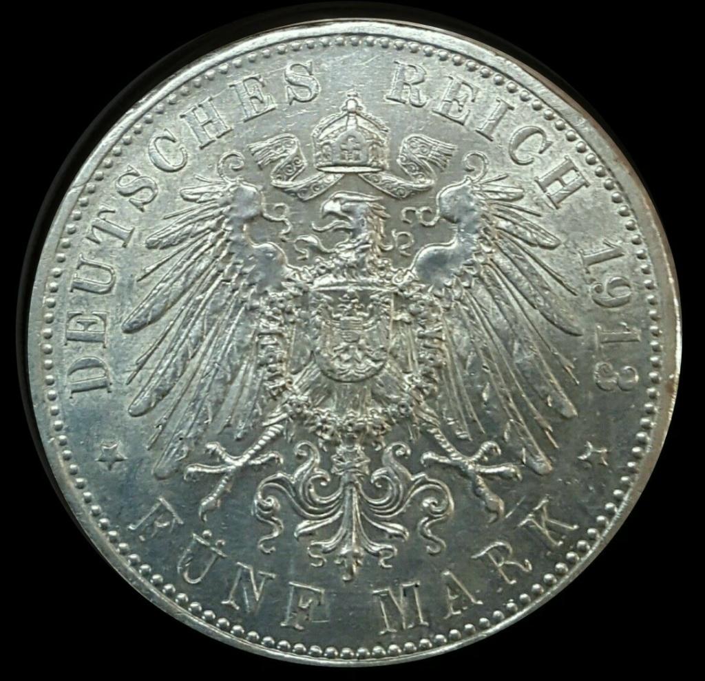 Imperio Alemán, Prusia: 5 Marcos 1913 A  Imarku17