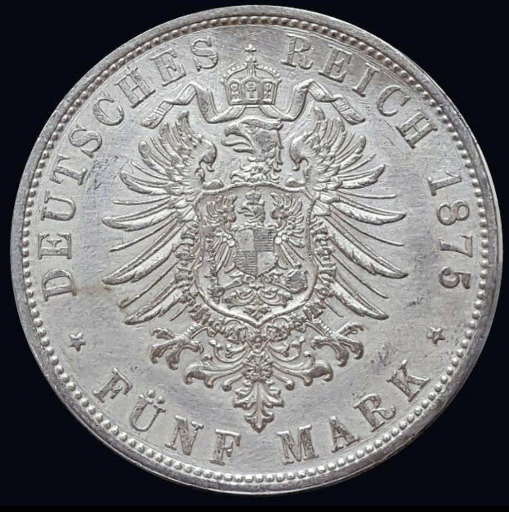 Imperio Alemán, Baviera: 5 Marcos 1875 D Screen31