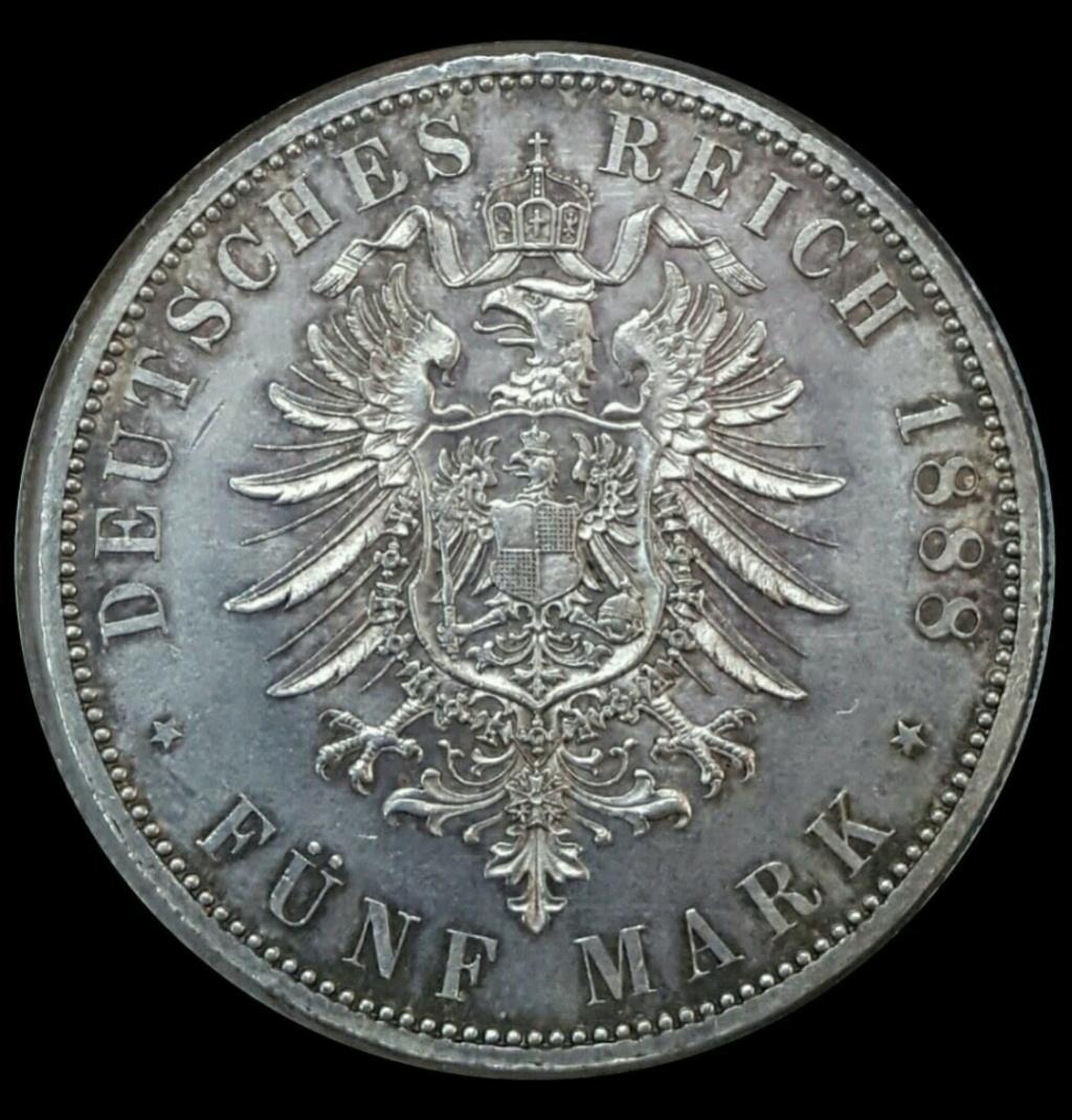 Imperio Alemán, Prusia: 5 Marcos 1888 A  a nombre de Federico III Screen40