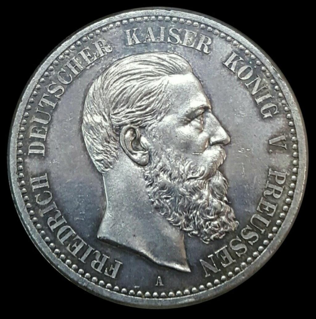 Imperio Alemán, Prusia: 5 Marcos 1888 A  a nombre de Federico III Screen41