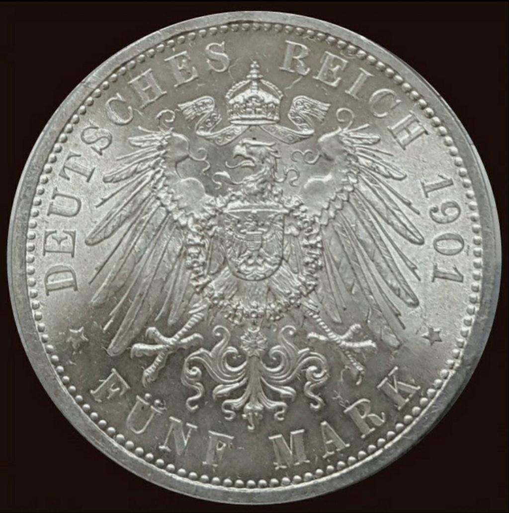 Imperio Alemán, Prusia: 5 Marcos 1901 A, conmemorativa Screen46