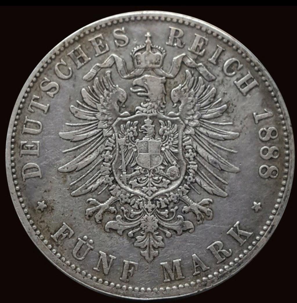 Imperio Alemán, Baviera: 5 Marcos 1888 D Screen48