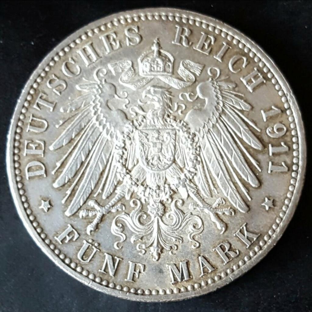 Imperio Alemán, Baviera: 5 Marcos 1911 D. Conmemorativa  90 aniversario de Leopoldo. Screen52