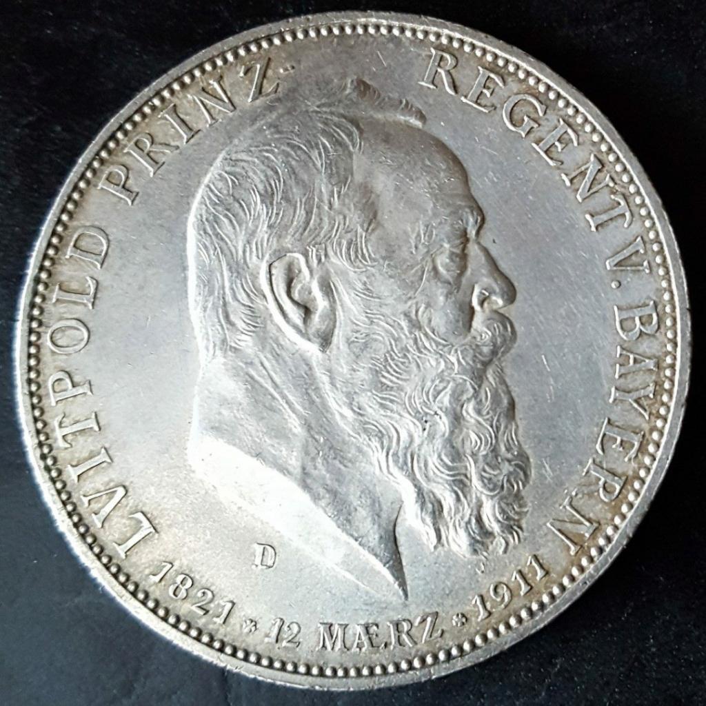 Imperio Alemán, Baviera: 5 Marcos 1911 D. Conmemorativa  90 aniversario de Leopoldo. Screen53