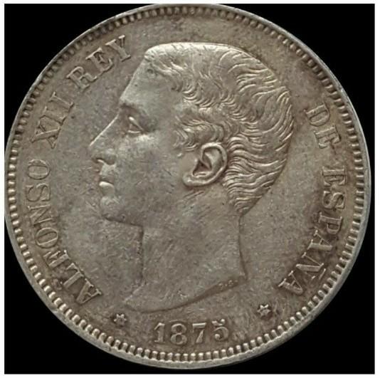 5 Pesetas 1875 (18-75) D.E. - M - Alfonso XII Screen57