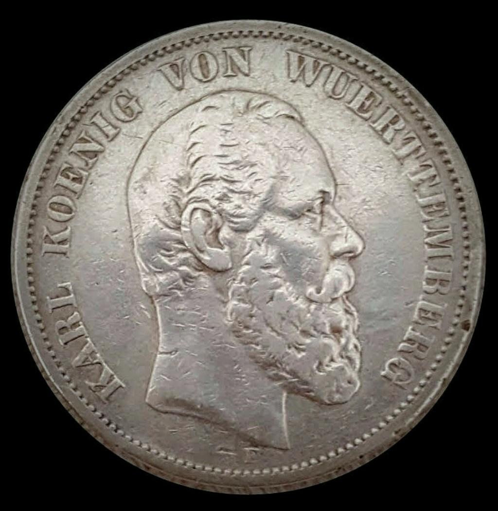 Imperio Alemán, Wurtemberg: 5 Marcos 1876 E Screen63