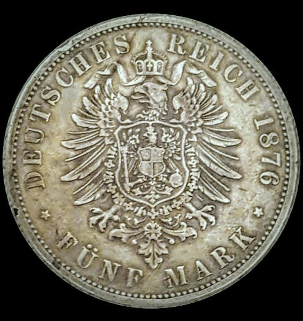 Imperio Alemán, Wurtemberg: 5 Marcos 1876 E Screen64