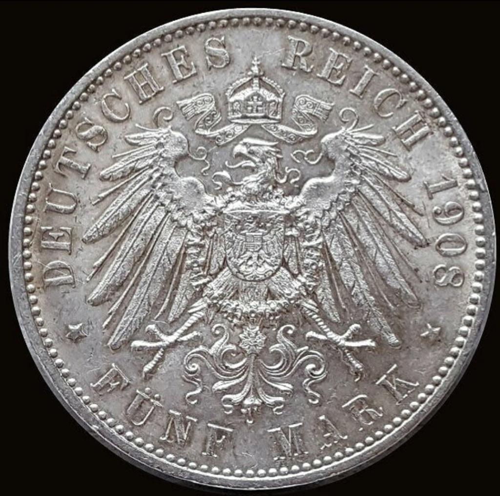 Imperio Alemán, Wurtemberg: 5 Marcos 1908 F Screen66