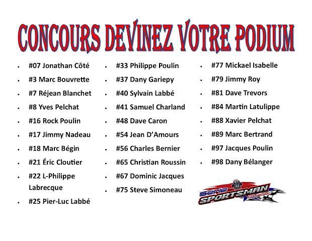 Serie Sportsman Québec : Concours Podium Parfait 11podi10