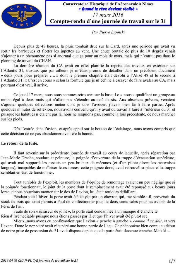 [Associations anciens marins] C.H.A.N.-Nîmes (Conservatoire Historique de l'Aéronavale-Nîmes) - Page 4 2016_010