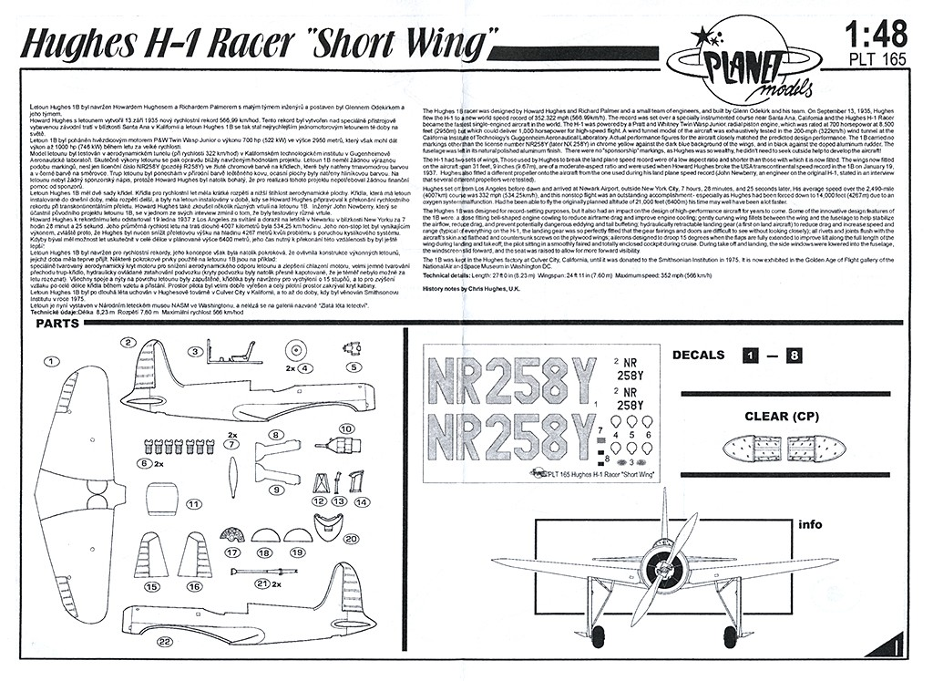 "Hughes H-1B Racer ""Short wing version"" (Planet Models) H-1_no11"