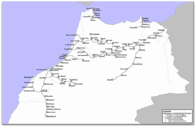 Transports CFM, Gares et Affiches du Maroc Carte_10