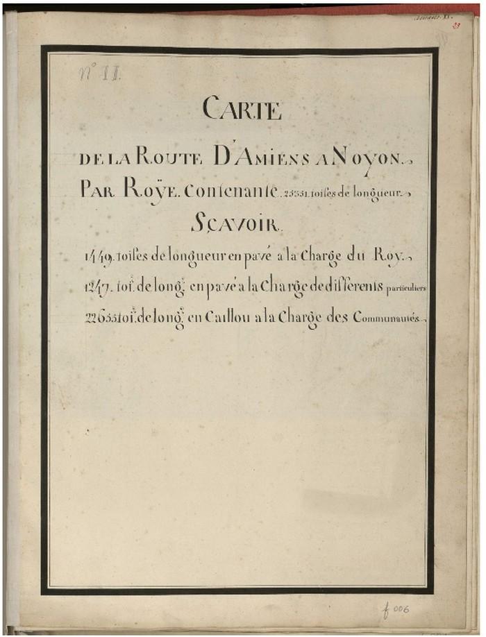 ancienne route de AMIENS NOYON : 25351 toifes  (en 1745) Route_10