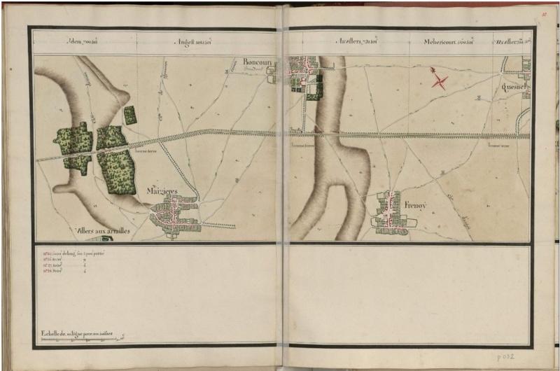 ancienne route de AMIENS NOYON : 25351 toifes  (en 1745) Route_11