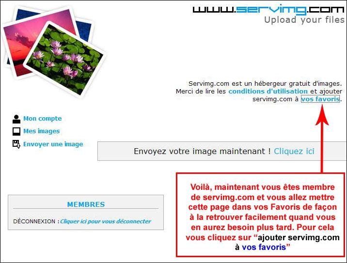 S'inscrire sur Servimg.com (hébergeur d'images gratuit) Servin27