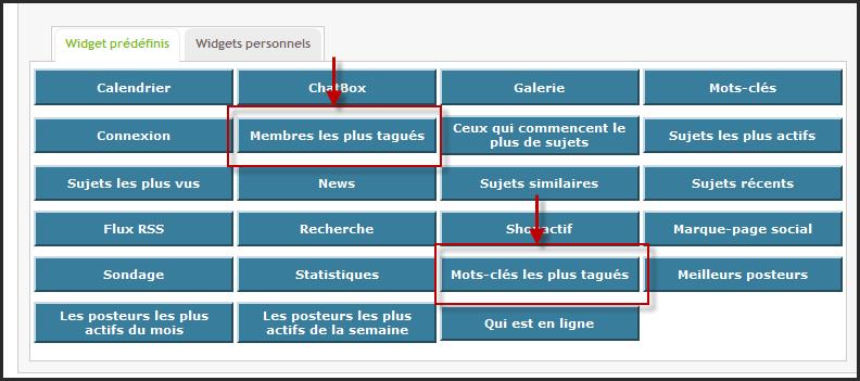 Nouveautés: Widgets utilisateurs les plus tagués et mots clés les plus tagués 02-05-10