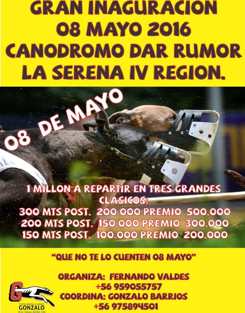 08 MAYO 2016, GRAN INAGURACION CANODROMO DAR RUMOR LA SERENA IV REGION, 1 MILLON EN PREMIOS. Logo_d10