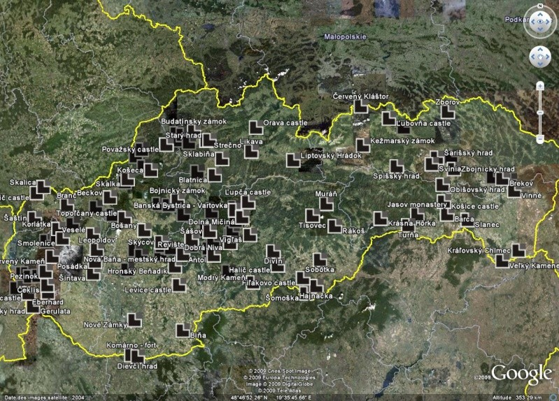Châteaux de Slovaquie en un fichier KMZ Slov10