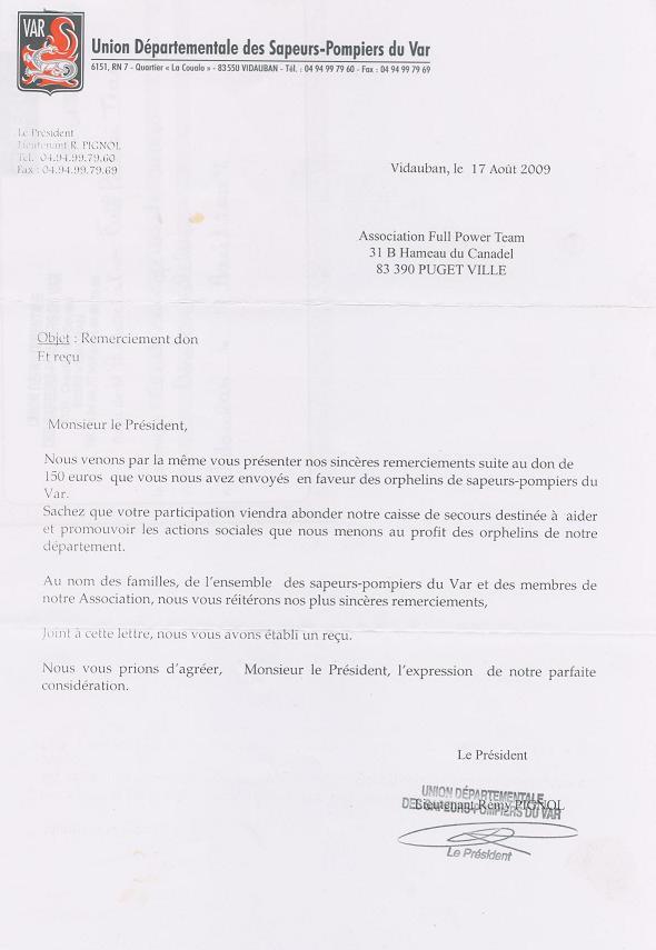 Solidarité Famille des pompiers tués : REMISE DE DONS 2009 Don_2010