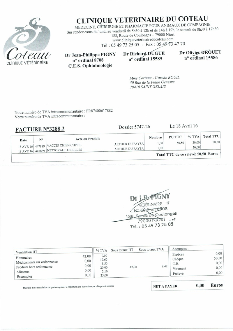 ARTHUR WESTIE NE EN 11/2005 DEPT 17 EN FA  Factur19