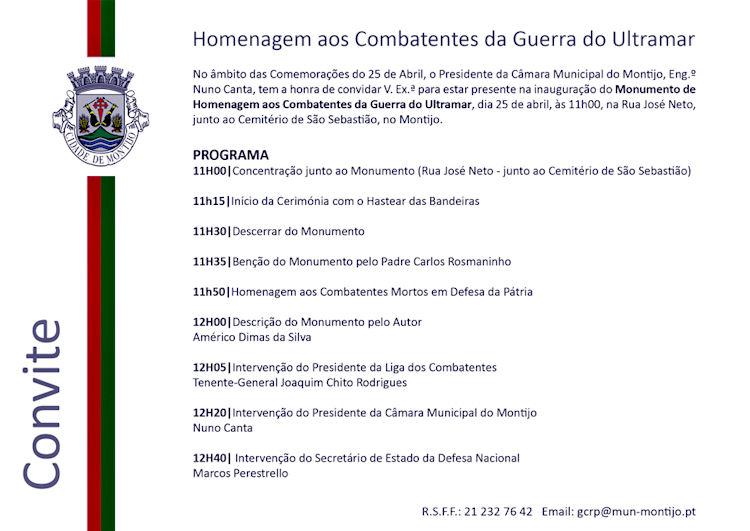 MONTIJO: Monumento de Homenagem aos Combatentes da Guerra do Ultramar Convit10