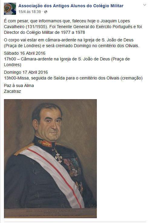 Faleceu o veterano Joaquim Lopes Cavalheiro, General - 15Abr2016 Facebo10