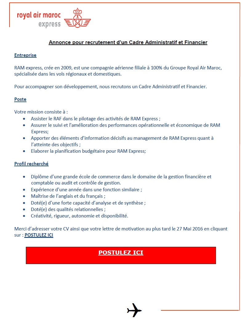 الخطوط الملكية المغربية إكسبريس : مباراة لتوظيف اطار اداري و مالي (1 منصب) و  مهندس الجودة (1 منصب) آخر أجل لإيداع الترشيحات 27 ماي 2016  Concou64