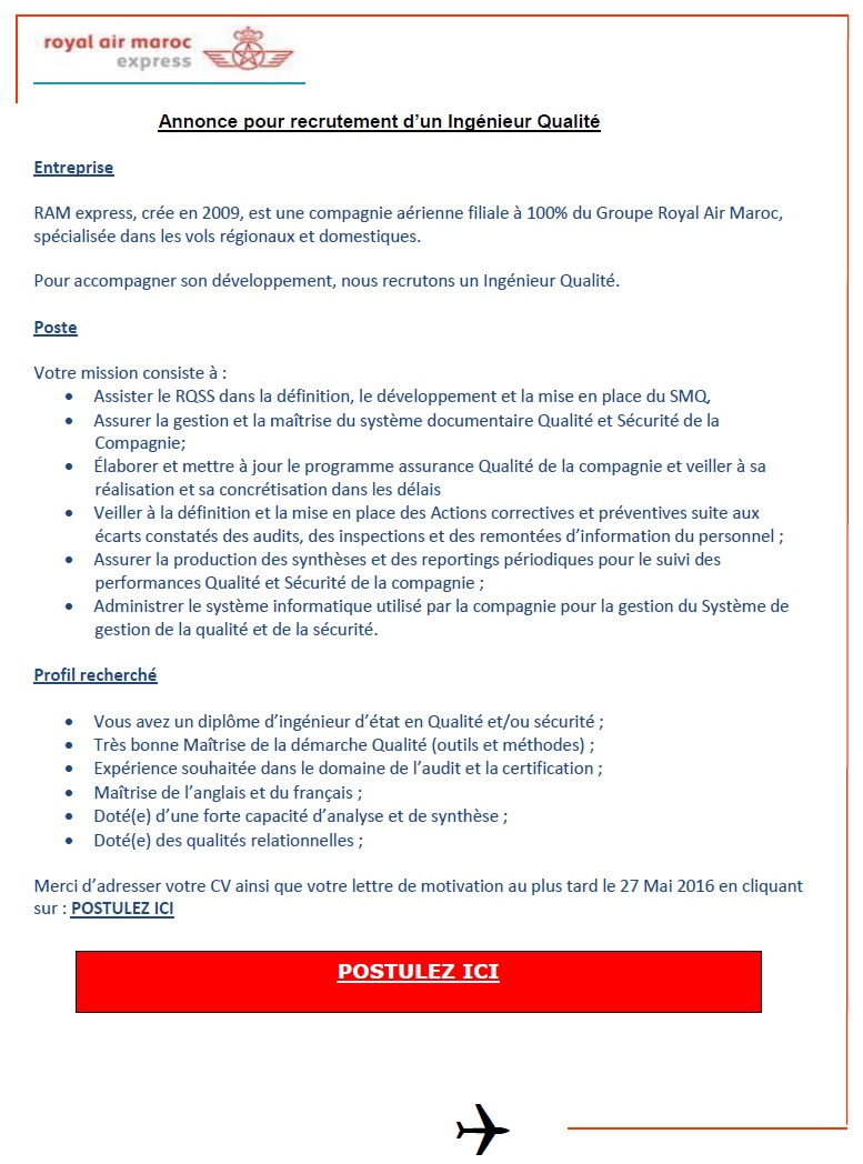 الخطوط الملكية المغربية إكسبريس : مباراة لتوظيف اطار اداري و مالي (1 منصب) و  مهندس الجودة (1 منصب) آخر أجل لإيداع الترشيحات 27 ماي 2016  Concou65