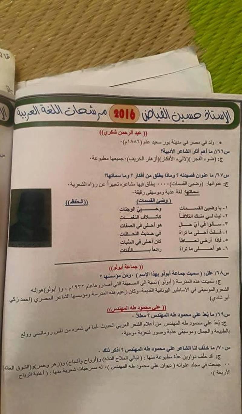 مرشحات اللغة العربية للسادس العلمى 2018 للاستاذ حسين الفياض  1120