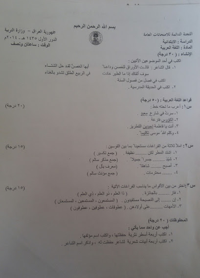 اسئله للغه العربيه للسنوات الماضيه مرشحات الصف السادس الابتدائى 2018  2016_210