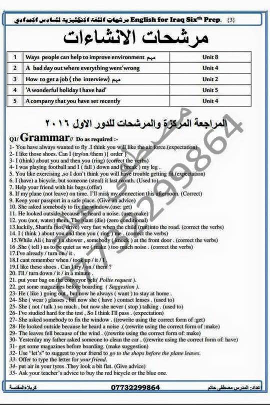 مرشحات اللغة الأنكليزية السادس الأعدادي اعداد الأستاذ مصطفى حاتم 210