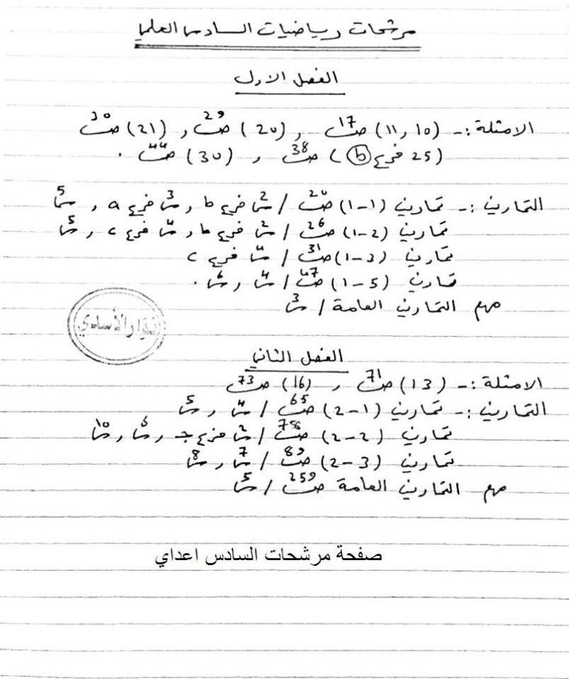 مرشحات مادة الرياضيات السادس العلمي 2019 الأستاذ نوار الأسدي 215