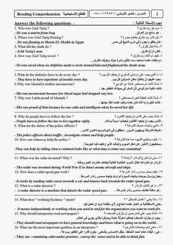 أهم مرشحات اللغة الانكليزية للسادس الاعدادى اعداد استاذ خضير القريشى  221