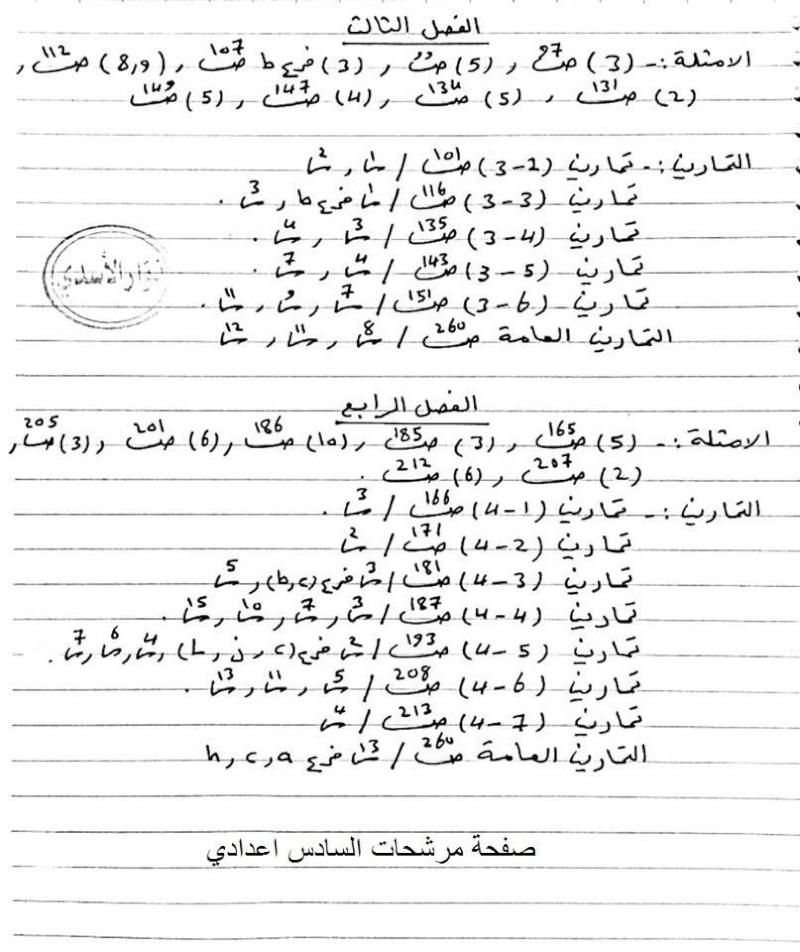 مرشحات مادة الرياضيات السادس العلمي 2019 الأستاذ نوار الأسدي 315