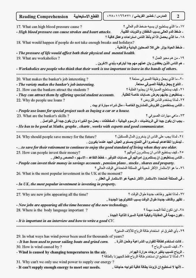 أهم مرشحات اللغة الانكليزية للسادس الاعدادى اعداد استاذ خضير القريشى  321