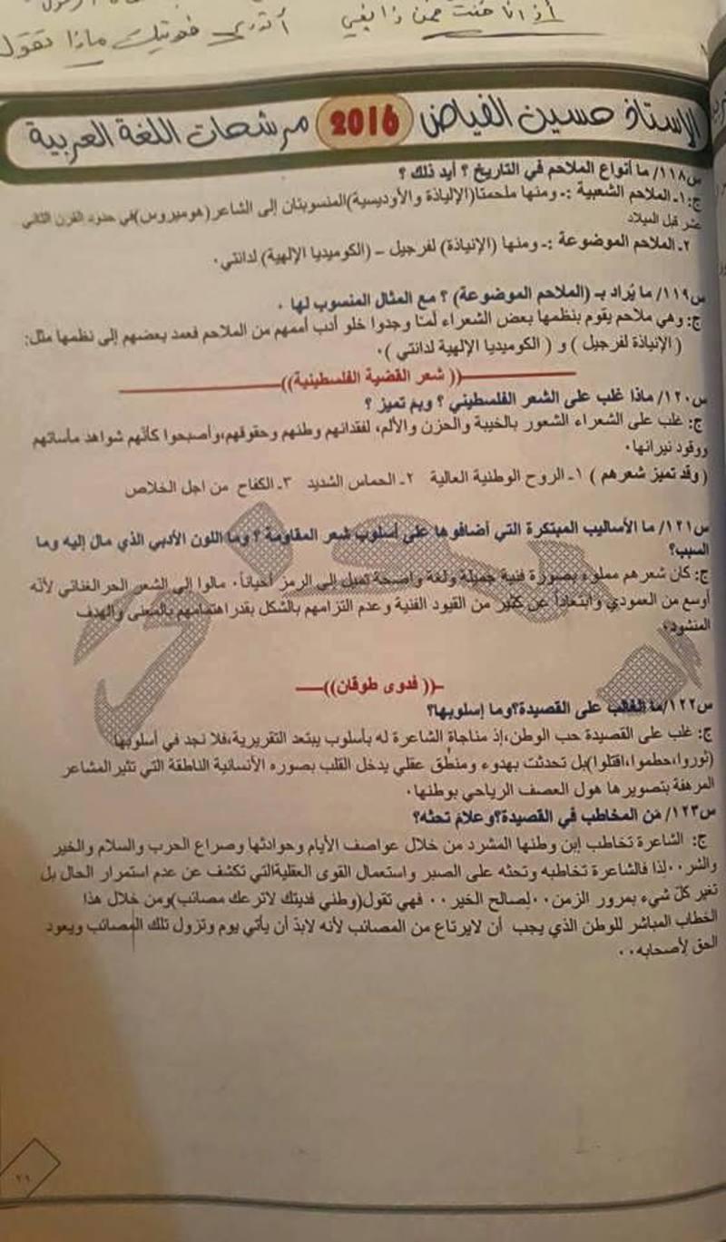 مرشحات اللغة العربية للسادس العلمى 2018 للاستاذ حسين الفياض  342