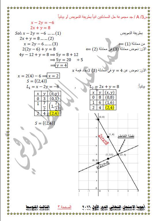 حل أسئلة امتحان الرياضيات للثالث المتوسط 2016 - صفحة 2 362