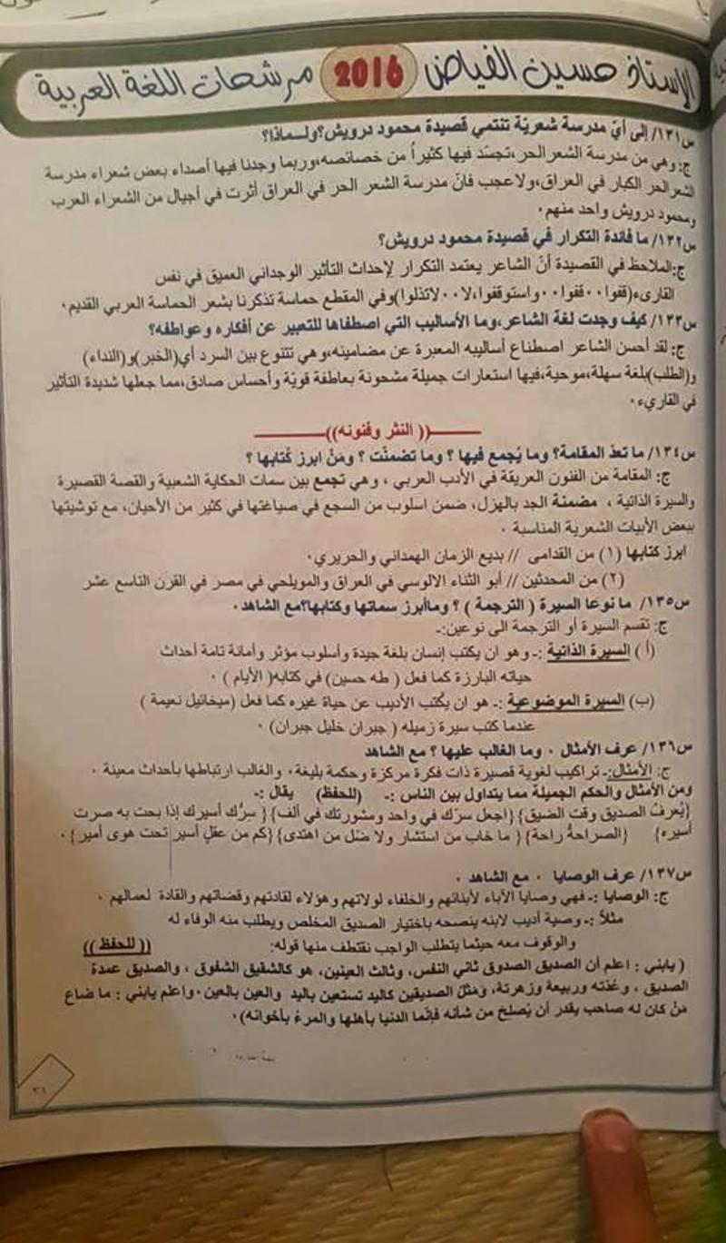 مرشحات اللغة العربية للسادس العلمى 2018 للاستاذ حسين الفياض  437