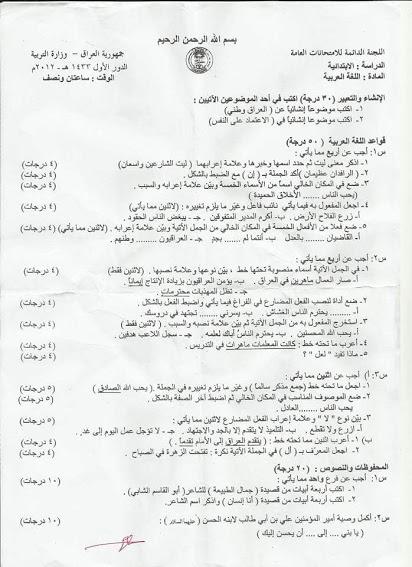اسئله للغه العربيه للسنوات الماضيه مرشحات الصف السادس الابتدائى 2018  522