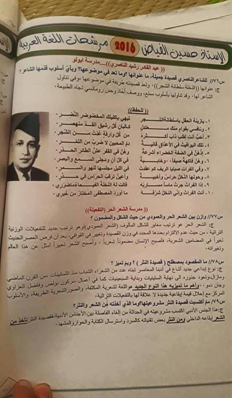مرشحات اللغة العربية للسادس العلمى 2018 للاستاذ حسين الفياض  636