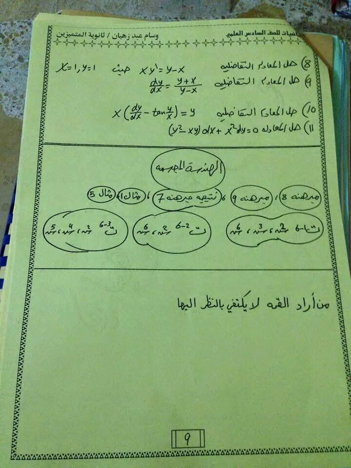 مرشحات هامة فى مادة الرياضيات للصف السادس الاعدادى العلمى 2018 915