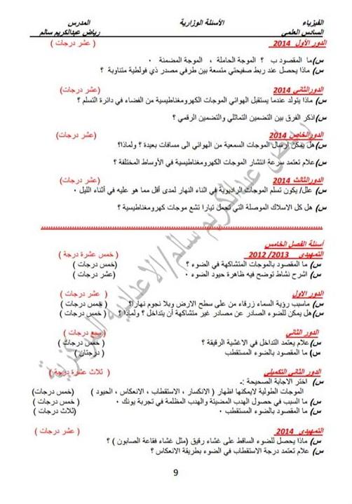 أسئله وزاريه مرشحات فيزياء للسادس العلمى 2018 اعداد أستاذ رياض عبد الكريم سالم  918