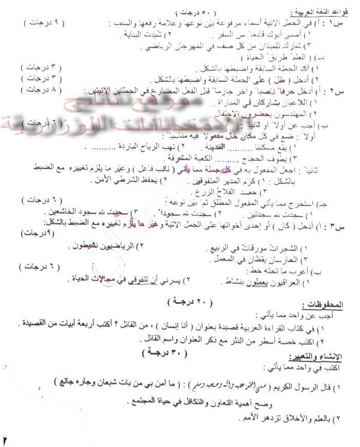 حمل ورقة أسئلة مادة اللغة العربية للسادس الابتدائى 2016 الدور الأول فى العراق  Iiui10