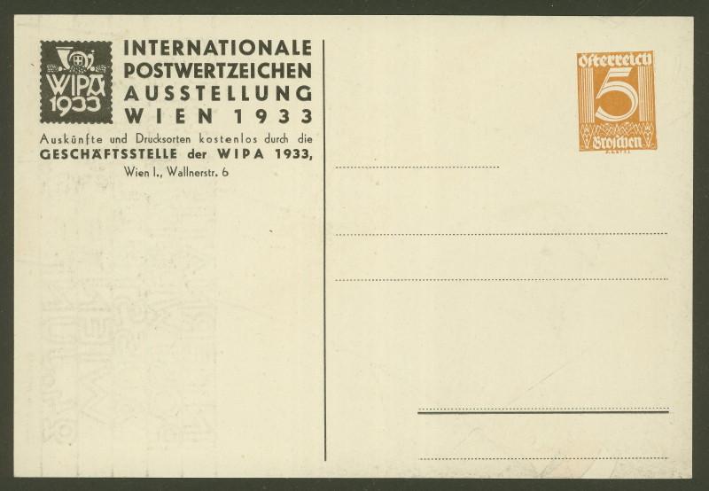 Privatganzsachen zur WIPA 1933 Pp103-11