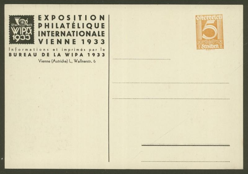 Privatganzsachen zur WIPA 1933 Pp103-12